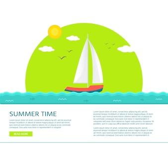 Nautische voertuigen: zeilboot, schip, vaartuig, luxejacht, speedboot met tekst zomertijd. vector platte pictogram, concept voor website.