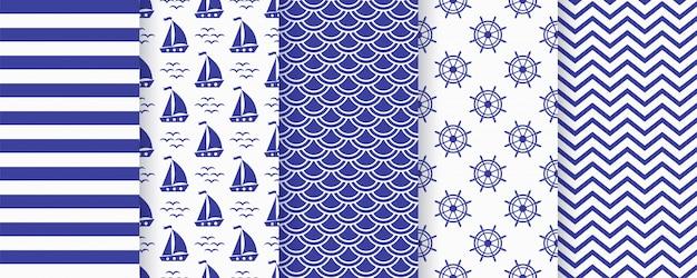 Nautische zwart-wit naadloos patroon. illustratie. mariene achtergronden.
