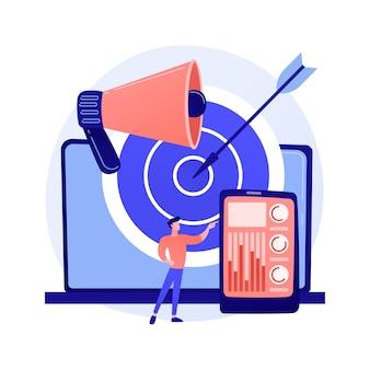 Nauwkeurige marketingstrategie. contentcreatie en distributie, identificatie van de doelgroep, merkpromotie. smm-expert analyseert gebruikersstatistieken.