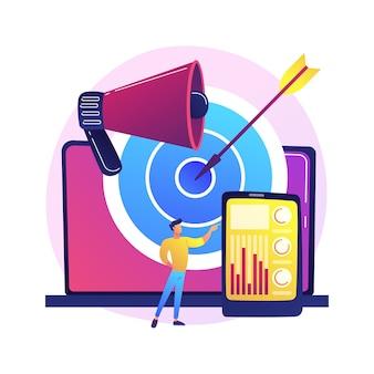 Nauwkeurige marketingstrategie. contentcreatie en distributie, identificatie van de doelgroep, merkpromotie. smm-expert analyseert statistieken van gebruikersgedrag