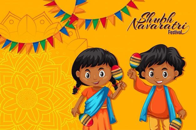 Navaratri-poster met kinderen die maracas houden