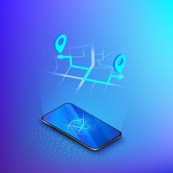 Navigatie of gps in mobiel. bezorgservice isometrisch. mobiele app taxi of verzending.