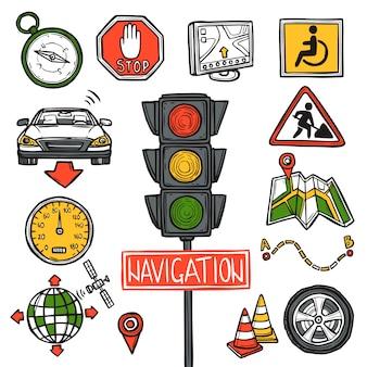 Navigatie pictogrammen schets
