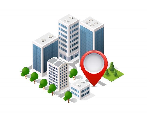 Navigatie stadskaart wegwijzer pin in isometrisch