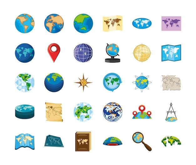 Navigatie wereldkaarten