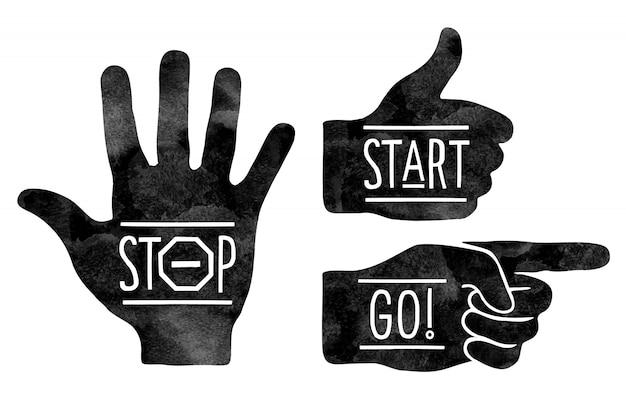 Navigatieborden. zwarte handen silhouetten - wijzende vinger, stop hand en duim omhoog