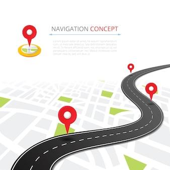 Navigatieconcept met pin-aanwijzer