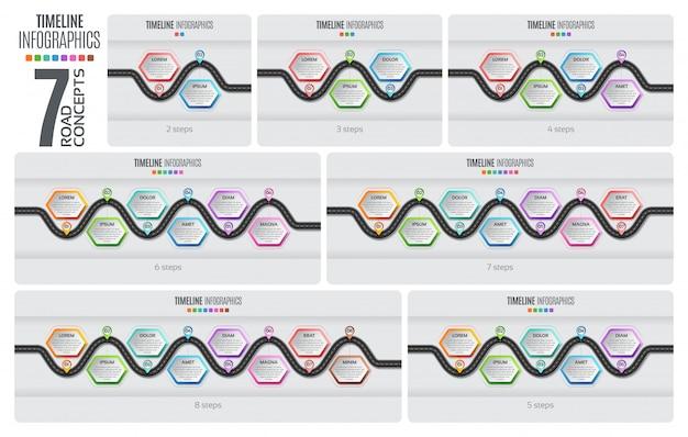 Navigatiekaart infographic tijdlijn. illustratie