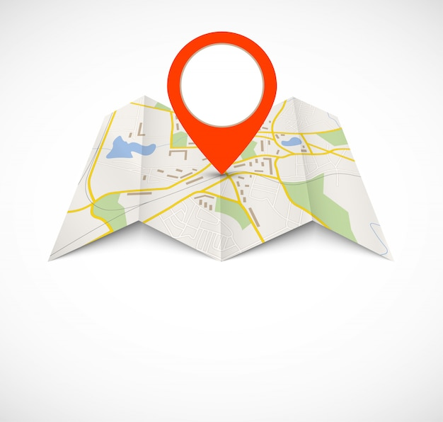 Navigatiekaart met rode pin