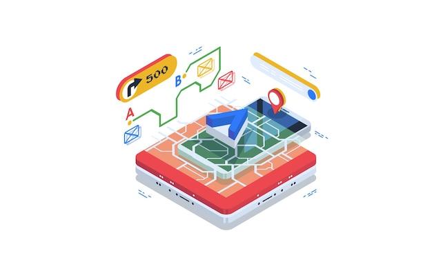 Navigator, online navigatiesysteem. data visualisatie concept.