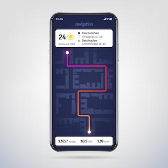 Navigeren op stadsplattegrond. online navigator-app. gps navigatie-applicatie op telefoonscherm.