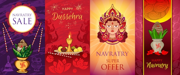 Navratri-bannerreeks. cartoon illustratie van navratri vector banner set