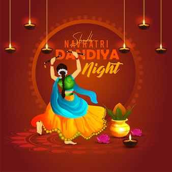 Navratri dandiya dance night pose met achtergrond