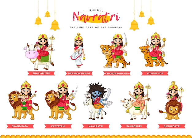 Navratri-festival met negen hindoegodinnen gedurende negen dagen van navratri