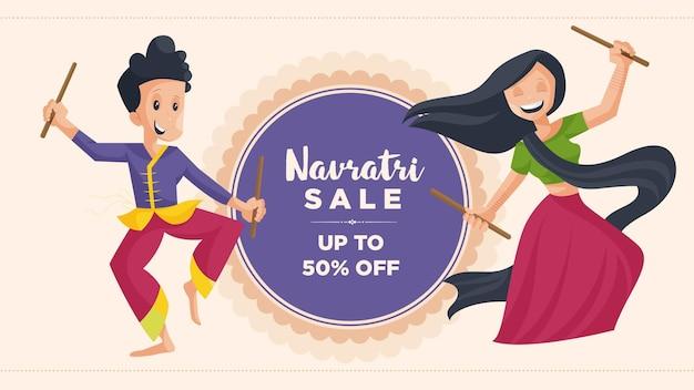 Navratri festival verkoop banner ontwerpsjabloon