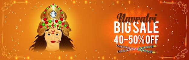 Navratri grote verkoop banner met vectorillustratie van godin durga