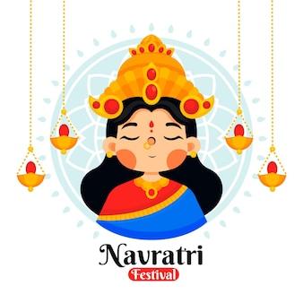 Navratri-illustratie met godin