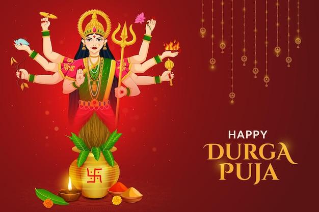 Navratri kalash met godin durga maa shubh navratri-festival gelukkig dussehra en durga puja