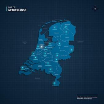 Nederland kaart met blauwe neonlichtpunten