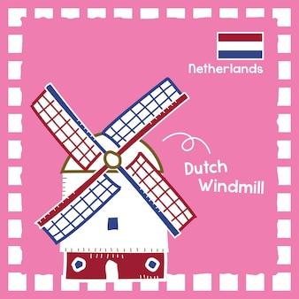 Nederland nederlandse windmolen landmark illustratie met schattig stempelontwerp