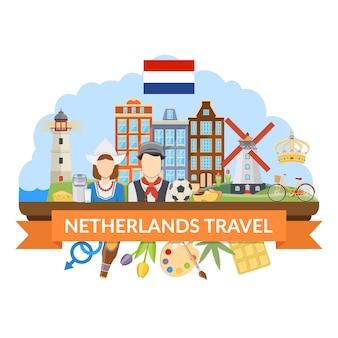 Nederland reizen platte compositie