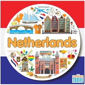 Nederland ronde achtergrond gekleurde vlakke pictogrammen en symbolen instellen