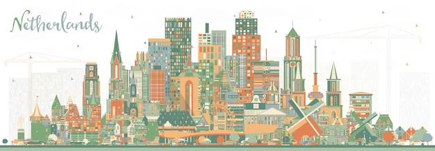 Nederland skyline met kleur gebouwen. vectorillustratie. toerismeconcept met historische architectuur. stadsgezicht met monumenten. amsterdam. rotterdam. den haag. utrecht.