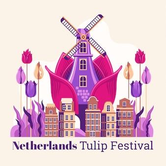 Nederland tulip festival illustratie
