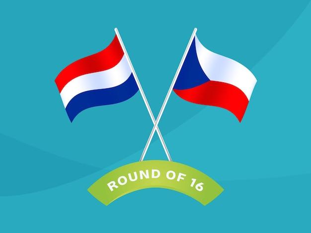 Nederland vs tsjechië ronde van 16 wedstrijd, europees kampioenschap voetbal 2020 vectorillustratie. voetbal 2020 kampioenschapswedstrijd versus teams intro sport achtergrond