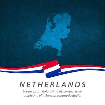 Nederlandse vlag met centrale kaart