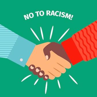 Nee tegen racisme, handdruk zakenman overeenkomst