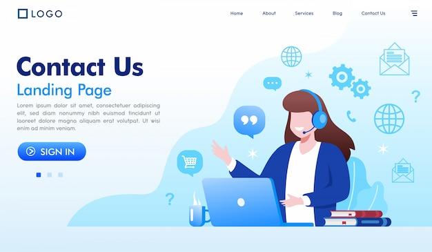 Neem contact met ons op bestemmingspagina website illustratie vector