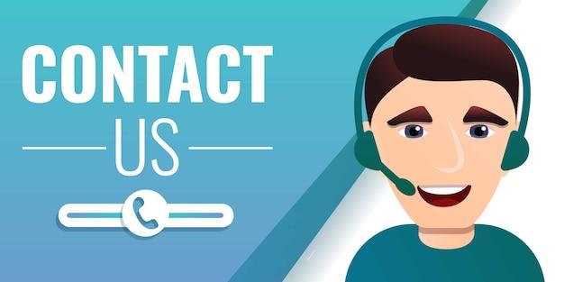 Neem contact met ons op concept banner, cartoon stijl