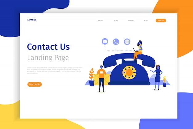 Neem contact met ons op concept bestemmingspagina illustratie