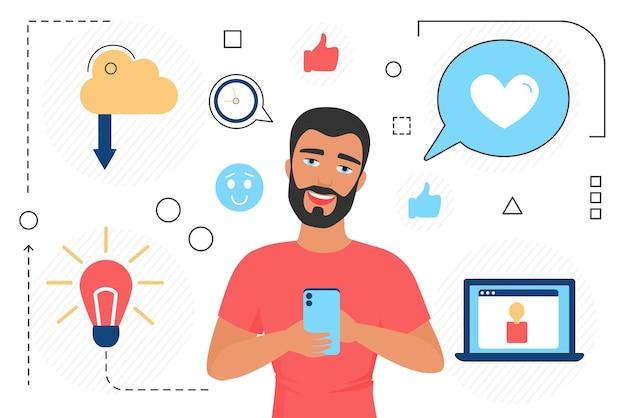 Neem contact met ons op concept feedback van klanten en review man karakter met mobiele telefoon