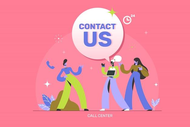 Neem contact met ons op concept illustratie