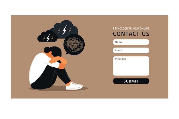 Neem contact met ons op een formuliersjabloon voor het web. depressie, geestelijke gezondheid, stress en emotieconcept voor websiteontwerp of bestemmingswebpagina.