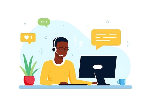 Neem contact met ons op formuliersjabloon. blanke man met koptelefoon en laptop. ondersteuning, assistentie, callcenter