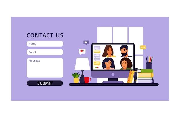 Neem contact met ons op formuliersjabloon. mensen die de computer gebruiken voor collectieve virtuele vergaderingen en groepsvideoconferenties. werk op afstand, technologieconcept.