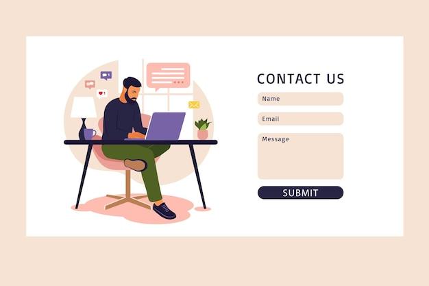 Neem contact met ons op formuliersjabloon. thuiskantoorconcept, man aan het werk vanuit huis. student of freelancer. freelance of studeren concept.