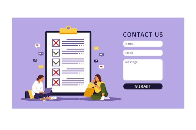 Neem contact met ons op formuliersjabloon voor web. checklist, takenlijst. lijst of kladblok-concept. bedrijfsidee, planning of koffiepauze.