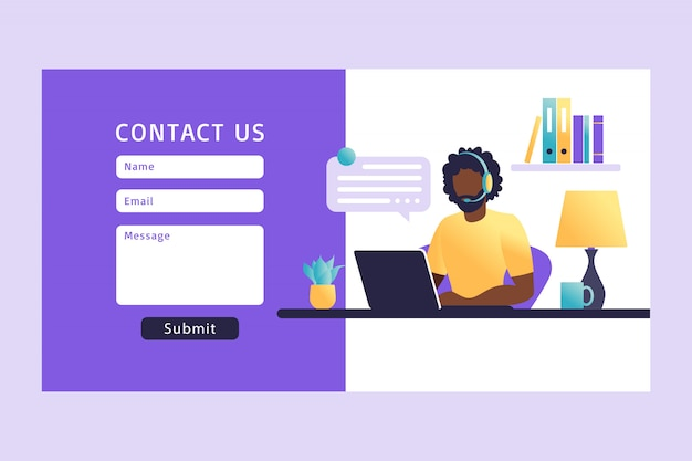 Neem contact met ons op formuliersjabloon voor web. de afrikaanse agent van de mensen klantenservice met hoofdtelefoon die met cliënt spreken. bestemmingspagina. online klantenondersteuning