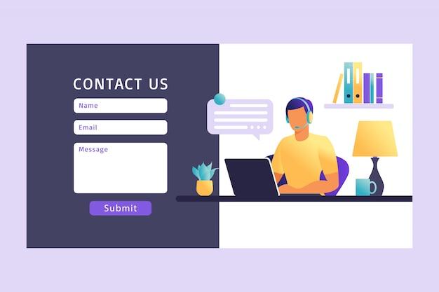 Neem contact met ons op formuliersjabloon voor web. mannelijke klantenserviceagent met hoofdtelefoon die met cliënt spreekt. bestemmingspagina. online klantenondersteuning. illustratie.