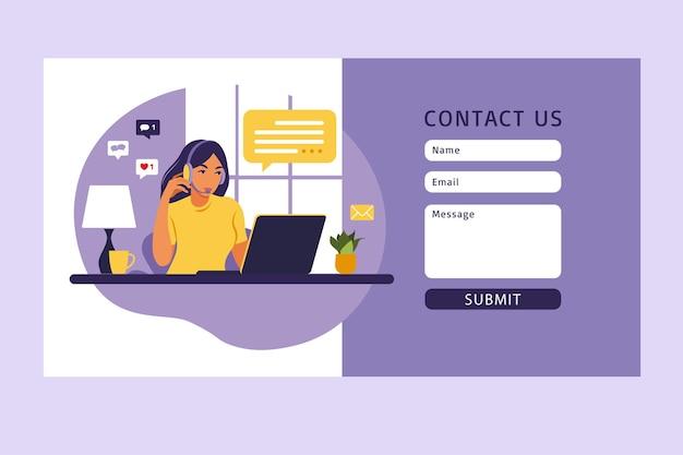 Neem contact met ons op formuliersjabloon voor web. vrouwelijke klantenserviceagent met hoofdtelefoon die met cliënt spreekt.