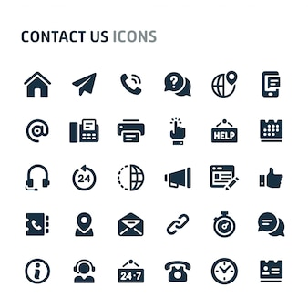 Neem contact met ons op icon set. fillio black icon-serie.