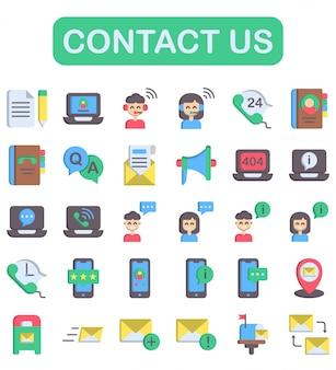 Neem contact met ons op iconen set, vlakke stijl