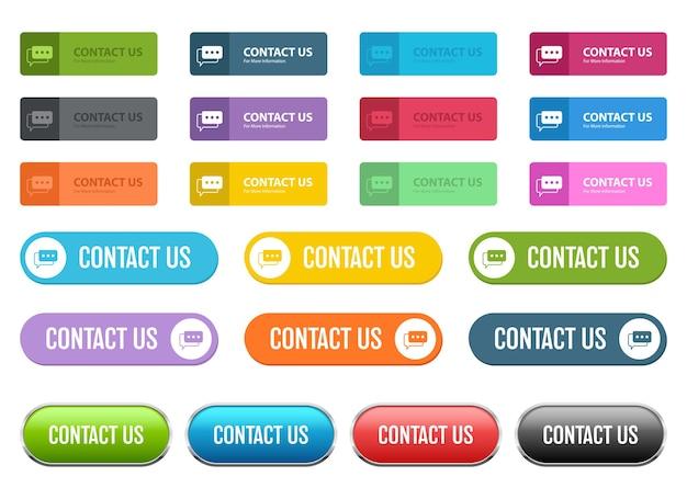 Neem contact met ons op knop, geïsoleerd op een witte achtergrond Premium Vector