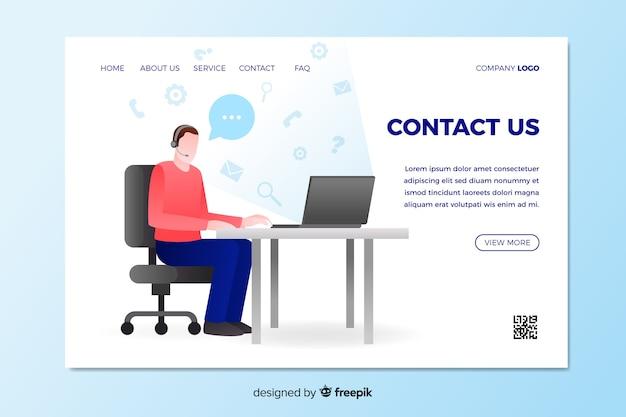 Neem contact met ons op landing page met man zittend aan een bureau