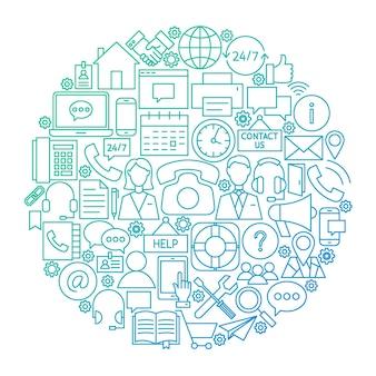 Neem contact met ons op lijn cirkel ontwerp. vectorillustratie van zakelijke objecten geïsoleerd over wit.