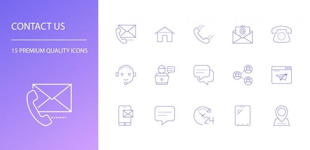 Neem contact met ons op lijn iconen set.